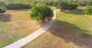 Parkerar den stads- flyg- sikten för panorama med stenlagd bana i Texas, USA Fotografering för Bildbyråer