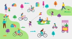 Parkerar den utomhus- platsen för sommar med aktiv familjsemester, aktivitetsillustrationen med ungar, par och familjer stock illustrationer