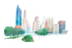 Parkerar det moderna stadslandskapet för aquarellen och byggnadsvattenfärgillustrationen Fotografering för Bildbyråer