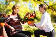 Parkerar gravida par för härligt barn som har picknicken i höst Mummel Royaltyfri Foto