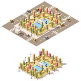 Parkerar isometriskt lågt poly stads- för vektor Royaltyfri Bild