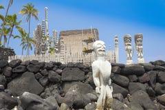 Parkerar nationellt historiskt för Pu-uhonuaohonaunau den stora ön hawaii Royaltyfria Bilder