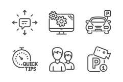 Parkeren, Paar en Montages geplaatste pictogrammen Snelle uiteinden, de veiligheidstekens van Sms en van het Parkeren Parkeerterr vector illustratie