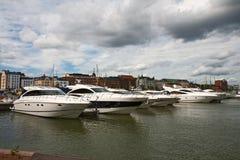 Parkeren van boten in Helsinki Stock Afbeelding