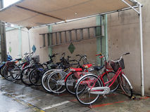 Parkeren voor fiets Stock Foto