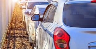 Parkerende gebruikte auto's Royalty-vrije Stock Fotografie