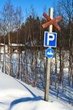 Parkerenplaats voor sneeuwautoped stock foto's
