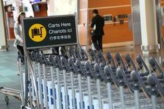 Parkering carts här tecknet Arkivbilder