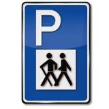 Parkering för fotvandrare och cyklaslinga vektor illustrationer