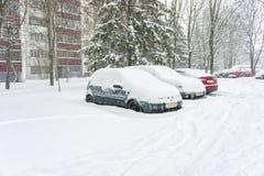 Parkeringsbilar som täckas av mycket snö royaltyfri bild