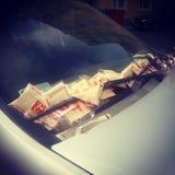 Parkeringsbiljetter vid en vindrutatorkare Royaltyfri Foto