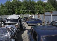 Parkeringsboten av en bil efter en olycka Royaltyfri Fotografi
