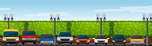 Parkeringshus mycket av bilar stock illustrationer