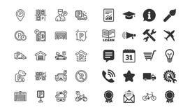Parkeringslinje symboler Uppsättning av garage-, betjänttjänare och betald parkering vektor stock illustrationer