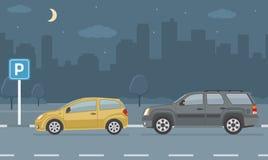 Parkeringsplats med två bilar på stadsbakgrund vektor illustrationer
