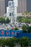 Parkeringsplatssolförtroende parkerar Atlanta Bravesstadion arkivbilder