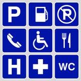 Parkeringssymbol- och teckensamling Arkivfoto