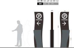 Parkeringstrafiktecken på vit bakgrund Royaltyfri Bild