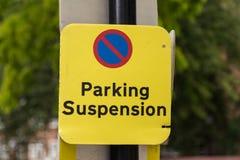 Parkeringsupphängningtecken fotografering för bildbyråer