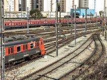 Parket de train dans la cour de manoeuvre Image stock