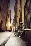 Fahrrad in alter Stadt Stockholms Lizenzfreies Stockfoto