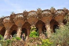 ParkGuell viaducts i Barcelona, Spanien Royaltyfri Foto