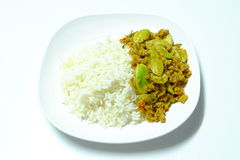 Parkia and minced pork on cooked rice Royalty Free Stock Photography
