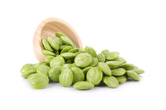 Parkia speciosa seeds or bitter bean on white background Royalty Free Stock Photography