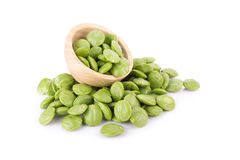 Parkia speciosa seeds or bitter bean on white background Stock Photo
