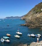 Parking łodzie Cinque terre Włochy Obrazy Royalty Free