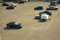 Parking 1. A view of parking slots partially filled with cars Stock Photography