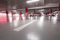 Parking. Underground parking lot for customers of a mall Stock Photography