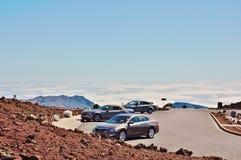 Parking above clouds in haleakala national park Stock Image
