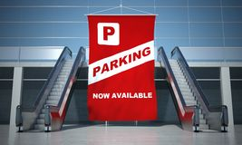 Parking advertising flag and escalator Stock Photo