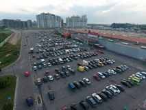 Parking area of the Auchan mall in Moscow Royalty Free Stock Images