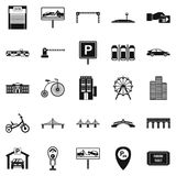 Parking area icons set, simple style Stock Images