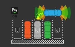 Parking assist system vector illustration. Autonomous car technology with sensors line art concept. Smart car assistance autopilot graphic design. Top view of stock illustration