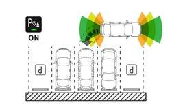 Parking assist system vector illustration. Autonomous car technology with sensors line art concept. Smart car assistance autopilot outline graphic design stock illustration