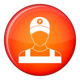 Parking attendant icon, flat style Stock Image