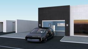 Parking autonome au garage par concept automatique d'aide de stationnement illustration libre de droits