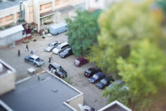 Parking on the backyard of an apartment house. Royalty Free Stock Photos