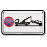 Parking ban and trailer Stock Photo