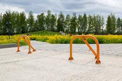 Parking barriers to restrict entry to park Stock Image