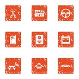 Parking bay icons set, grunge style. Parking bay icons set. Grunge set of 9 parking bay vector icons for web isolated on white background Royalty Free Stock Images