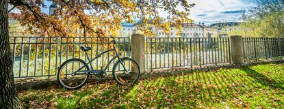 Parking A Bicycle At Fence royalty free stock images