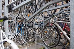 Parking for bicycles. City two-storied parking for bicycles Stock Photo