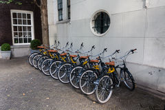 Parking of bicycles in Amsterdam. Several identical bicycles parked in the street in Amsterdam Stock Photos