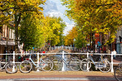 Parking of bicycles on the bank of the channel in Delft, Nideranda Stock Photo