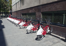 Parking of bicycles. Bicing is a rental system for bicycles 10 May 2010, in Barcelona, Spain Stock Images