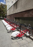 Parking of bicycles. Bicing is a rental system for bicycles 10 May 2010, in Barcelona, Spain Royalty Free Stock Image
